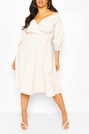 Boohoo Womens Plus Off Shoulder Wrap Midi Dress - - 12