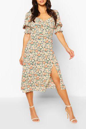 Boohoo Womens Floral Puff Sleeve Slit Front Midi Dress - - 4