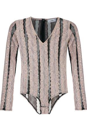 AMIR SLAMA Striped bodysuit - Neutrals
