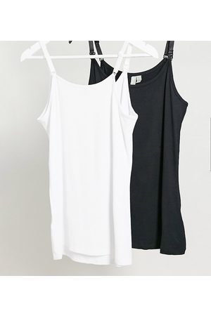 ASOS Women Camisoles - Maternity nursing cami with clips 2 pack black and white-Multi