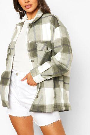 Boohoo Women Puffer Jackets - Womens Petite Flannel Shirt Jacket - - M
