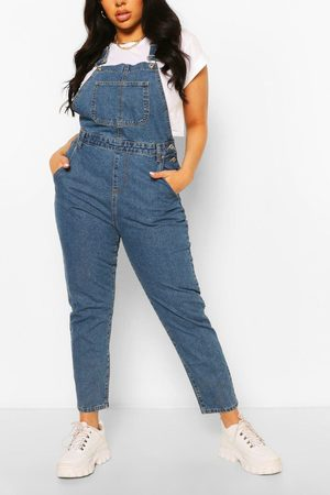 Boohoo Womens Plus Denim Boyfriend Dungarees - - 12