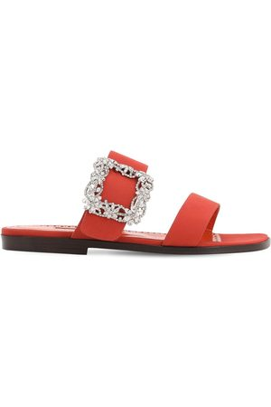 Manolo Blahnik 10mm Titubaflat Crepe De Chine Sandals