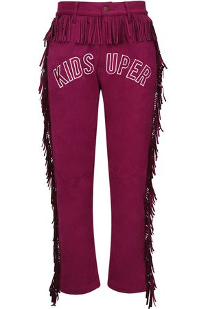 KIDSUPER STUDIOS High Waist Fringed Faux Suede Pants
