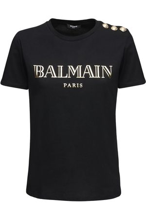 Balmain Metallic Logo Cotton Jersey T-shirt