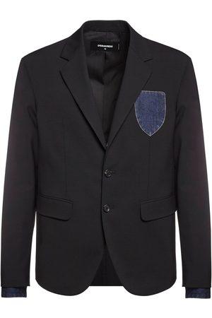 Dsquared2 Patch Wool Blazer W/ Denim Cuffs