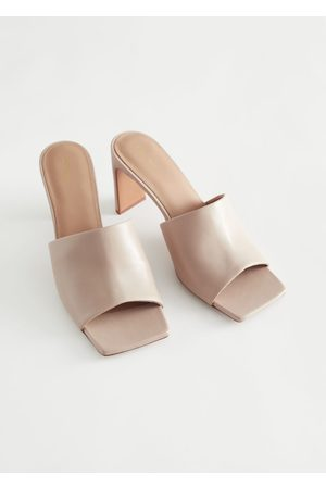 & OTHER STORIES Heeled Leather Square Toe Sandals