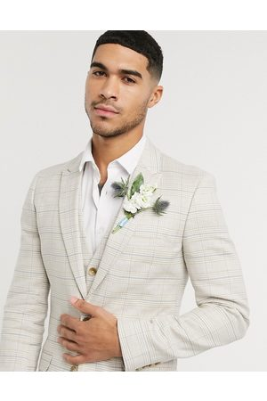 ASOS Wedding super skinny suit jacket in stretch cotton linen in stone check