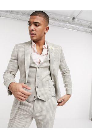 ASOS Wedding super skinny suit jacket in neutral wool blend houndstooth-Stone