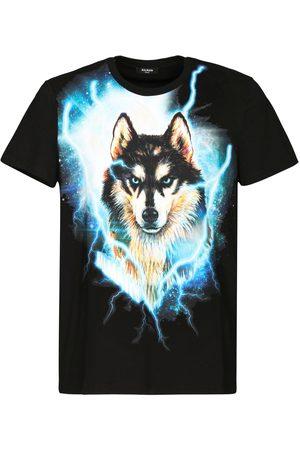 Balmain Wolf Print Cotton Jersey T-shirt