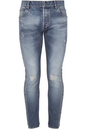 Balmain Logo Jacquard Slim Cotton Denim Jeans