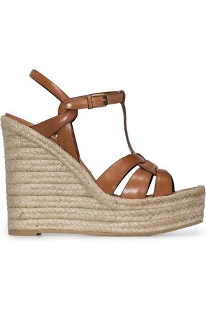 Saint Laurent Women Wedges - T-strap 85mm espadrille wedge sandals