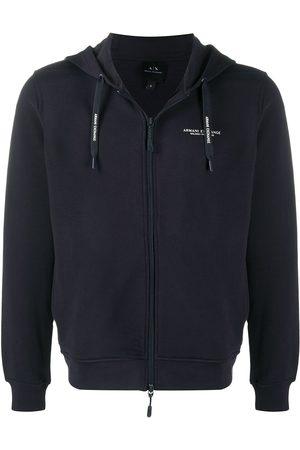 Armani Logo print zipped hoodie