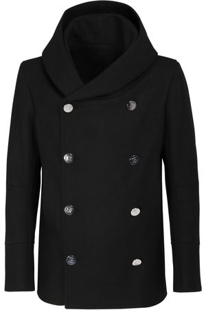 Balmain Hooded Wool Blend Pea Coat
