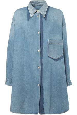 MM6 MAISON MARGIELA Shadow Cotton Denim Shirt Dress