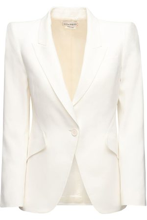 Alexander McQueen Women Blazers - Leaf Crepe Single Breast Blazer Jacket