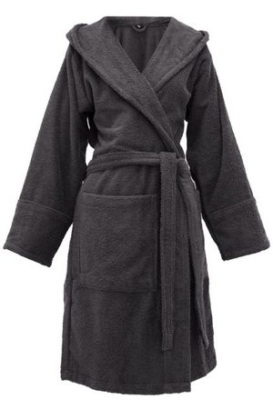 Tekla Hooded Cotton-terry Bathrobe - Womens - Dark Grey