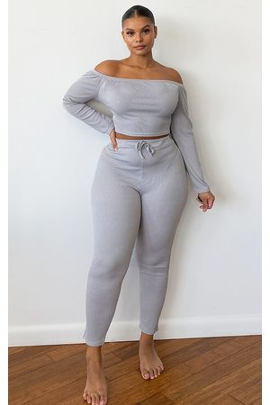 PRETTYLITTLETHING Plus Grey Ribbed High Waist Leggings