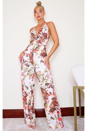 PRETTYLITTLETHING Multi Floral Print Halterneck Wide Leg Jumpsuit