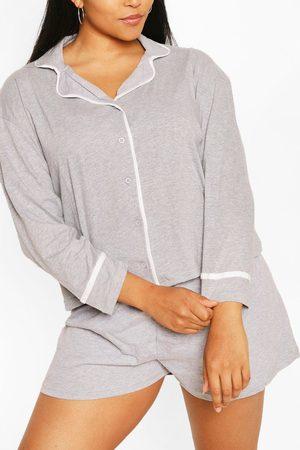 Boohoo Womens Plus Long Sleeve Button Jersey T-Shirt Pj Set - - 12