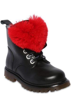 MONNALISA Girls Boots - Leather Boots W/ Fur Appliqué