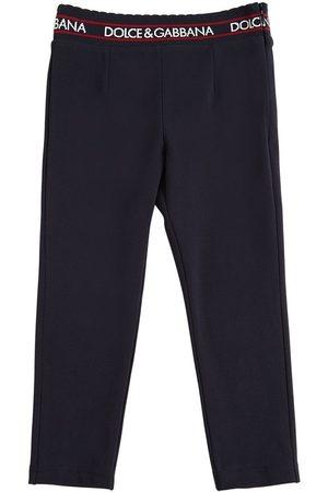 Dolce & Gabbana Girls Leggings - Cotton Interlock Pants W/ Logo Detail