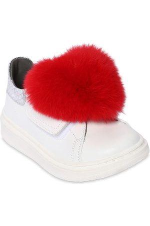 MONNALISA Girls Sneakers - Leather Sneakers W/ Fur Appliqué
