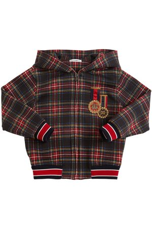Dolce & Gabbana Boys Sweatshirts - Zip-up Check Cotton Sweatshirt
