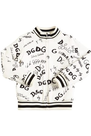 Dolce & Gabbana Girls Sweatshirts - Printed Cotton Zip-up Sweatshirt