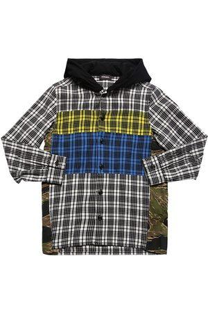 Diesel Patchwork Cotton Shirt W/ Hoodie
