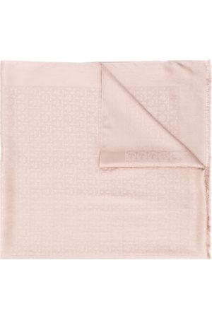 Salvatore Ferragamo Gancini-print frayed scarf