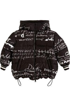 Dolce & Gabbana Logo Printed Nylon Down Jacket