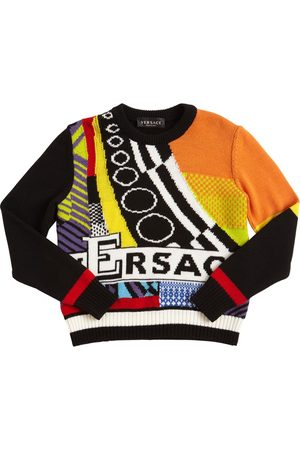 VERSACE Jacquard Knit Wool Sweater