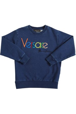 VERSACE Logo Embroidery Cotton Sweatshirt
