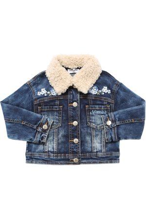MONNALISA Faux Shearling Stretch Denim Jacket