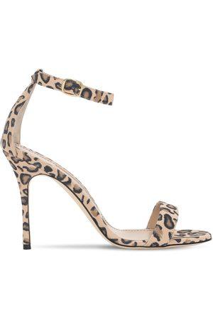 Manolo Blahnik 105mm Chaos Leopard Print Suede Sandals