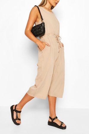 Boohoo Womens Slouchy Drawstring Waist Culotte Jumpsuit - - S