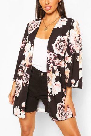 Boohoo Womens Floral Print Wide Sleeve Kimono - - S/M
