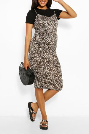 Boohoo Womens Maternity Leopard Print 2 In 1 Bodycon Dress - - 4