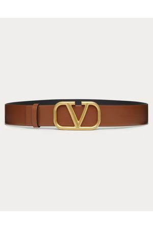 VALENTINO GARAVANI Men Belts - Vlogo Signature Calfskin Belt Man Saddle 100% Pelle Di Vitello - Bos Taurus 100