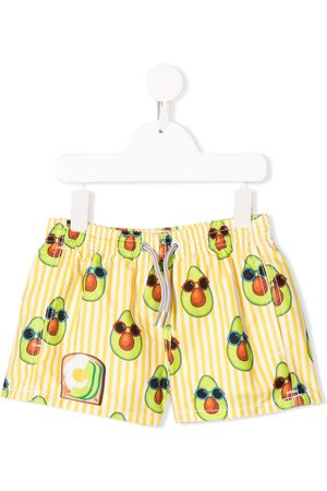 MC2 SAINT BARTH Avocado print striped swim shorts