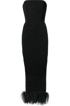 16Arlington Women Strapless Dresses - Feather embellished strapless dress