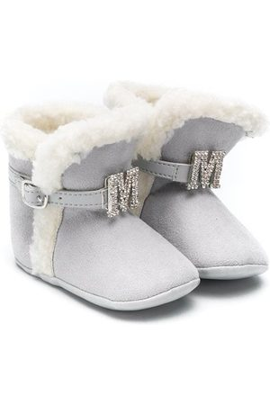 MONNALISA Faux fur buckle boots - Grey