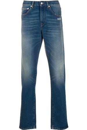 OFF-WHITE Men Straight - Logo-print straight-leg jeans