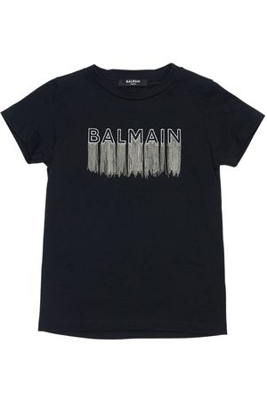 Balmain Embroidered Logo Cotton Jersey T-shirt