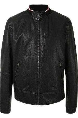 Bally Men Leather Jackets - Ribbed trim jacket