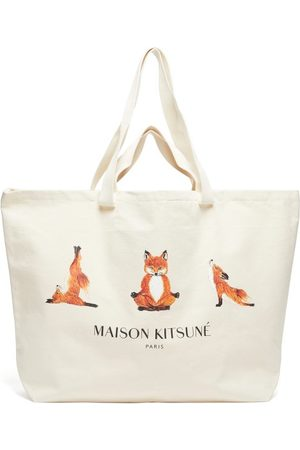 Maison Kitsuné Yoga Fox-print Cotton-canvas Tote Bag - Mens