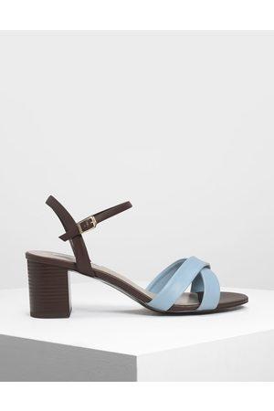 CHARLES & KEITH Criss-Cross Two Tone Block Heel Sandals