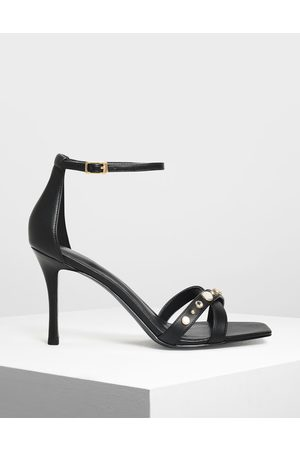 CHARLES & KEITH Embellished Crossband Heeled Sandals