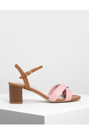 CHARLES & KEITH Criss-Cross Two Tone Block Heel Sandals